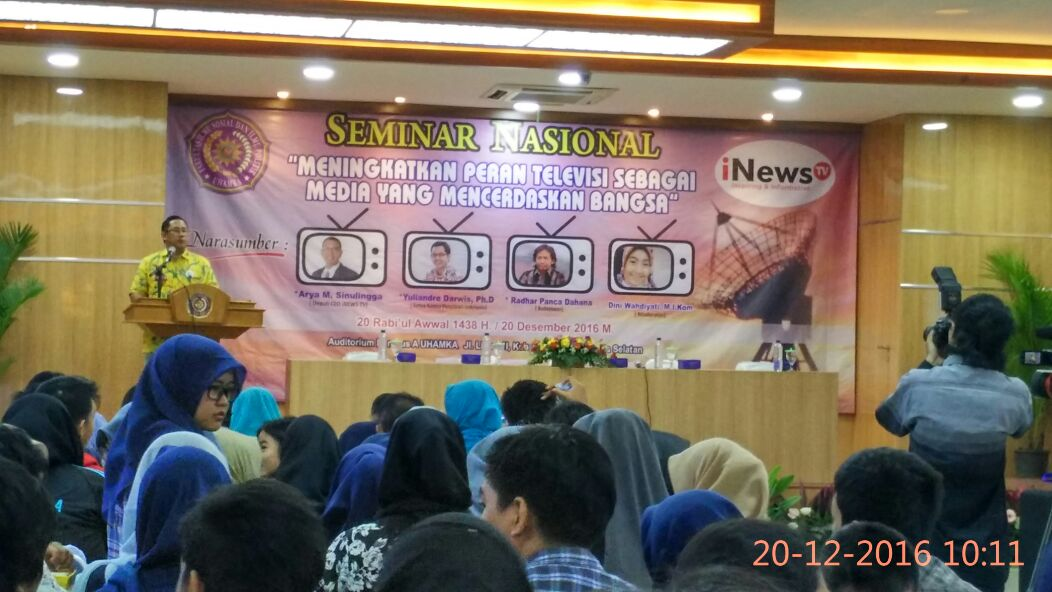 Universitas Muhammadiyah Prof. DR. HAMKA (UHAMKA) mengadakan seminar nasional dengan tema Meningkatkan Peran Televisi Sebagai Media yang Mencerdaskan Bangsa