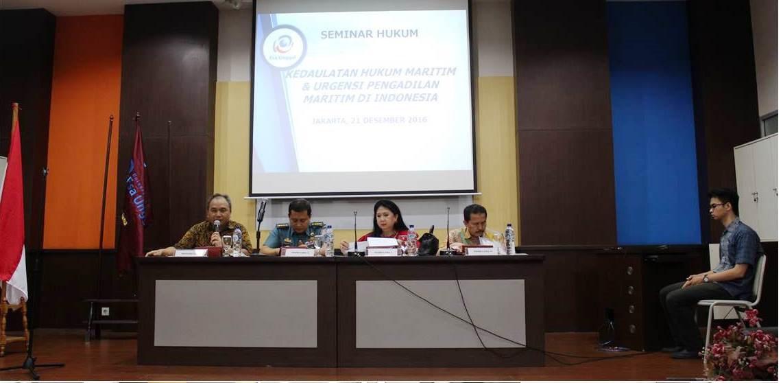 "Universitas Esa Unggul Menyelenggarakan Seminar dengan tema ""Kedaulatan Hukum Maritim dan Urgensi Pengadilan Maritim di Indonesia"""